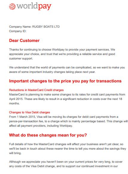 Latest Worldpay Fee Increase Letters Cardswitcher