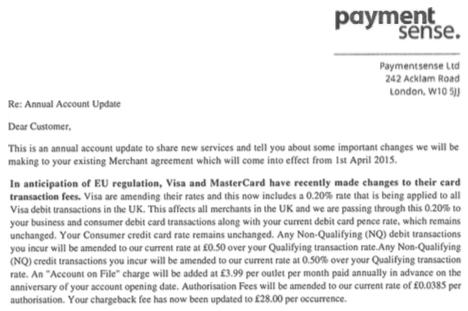 Payment Sense letter