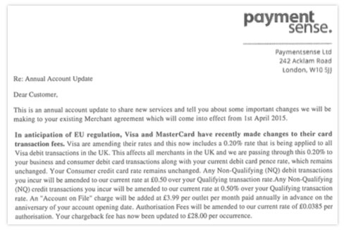 Paymentsense Fee Increase Letter