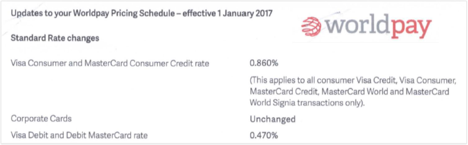 Card scheme fees increase 2017 cardswitcher worldpay fee increase january 2017 colourmoves Images