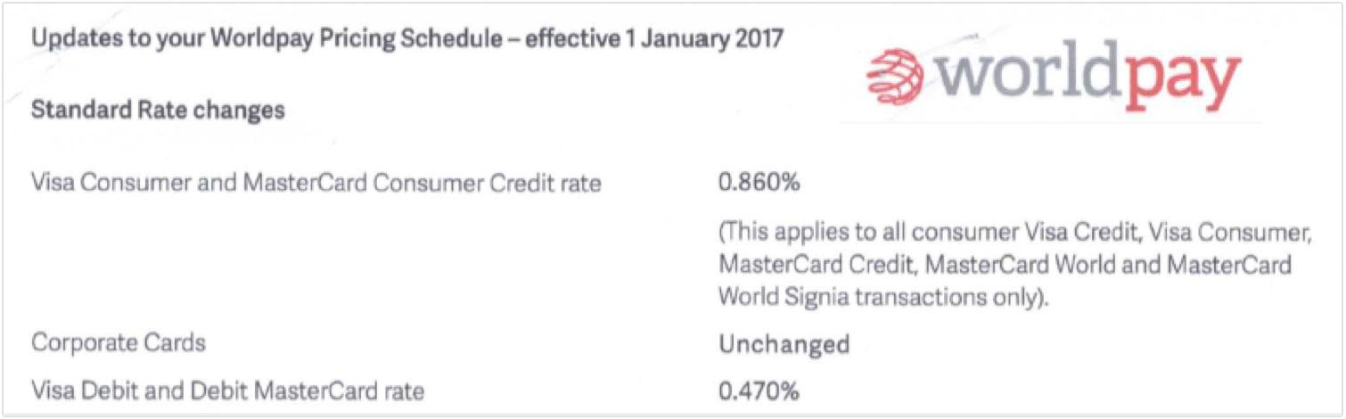 Worldpay fee increase January 2017