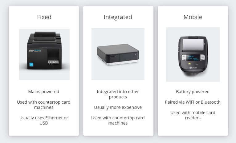 Types of iZettle Receipt Printer