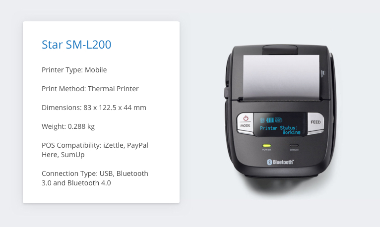 Star SM-L200 iZettle Receipt Printer