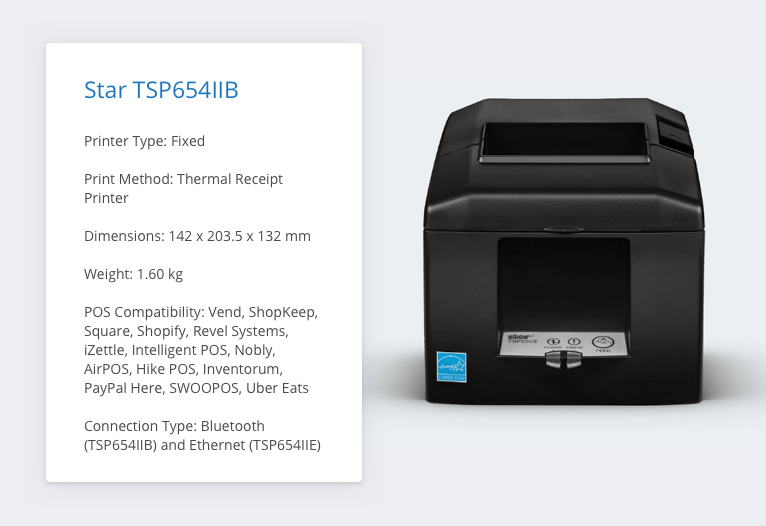 TSP654IIE Receipt Printer Specs