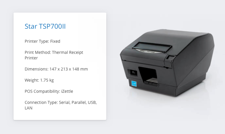 Star TSP700II iZettle Receipt Printer