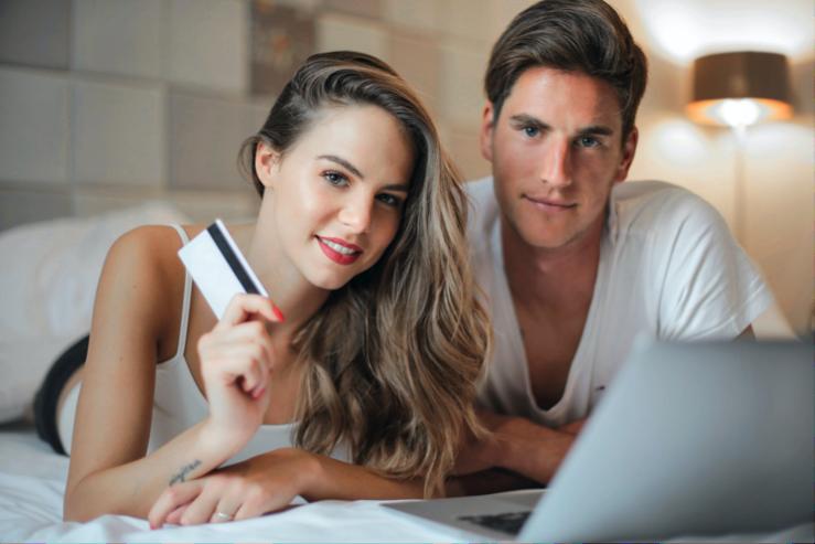 Lovely couple shopping online