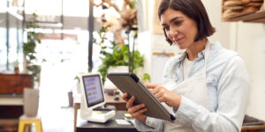 business woman holding tablet