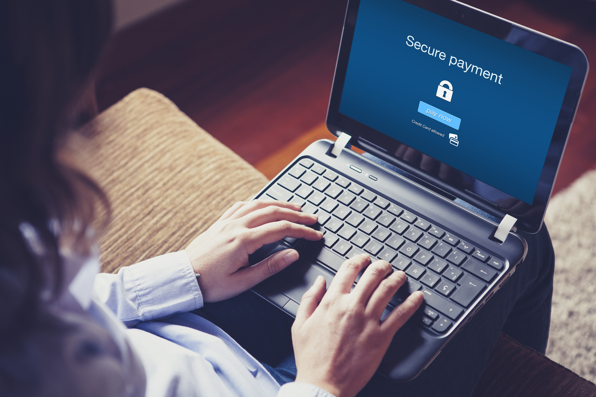making secure payment on laptop